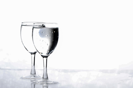 water in wine glass , Water splash Imagens