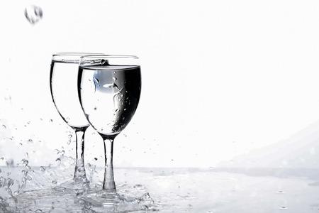 water in wine glass , Water splash