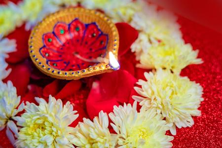 Indian Festival Diwali , Diwali lamp and flower rangoli Stock Photo
