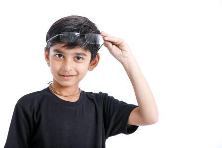 Indian child wear eyeglass Stock Photo