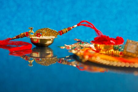 Indian festival Raksha Bandhan , colorful designer Rakhi or Wrist Band Stock Photo