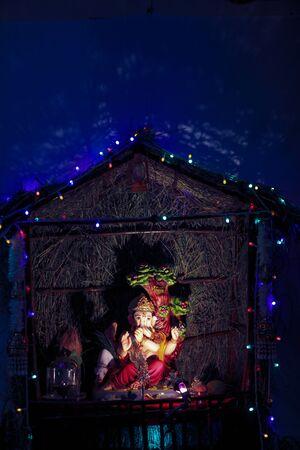 Lord Ganesha, Ganesha Festival, Lord Ganesha Statue on dark background Stock fotó