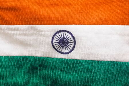 Indian tricolor flag over white background