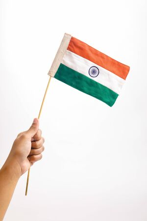 Indian tricolor flag in hand