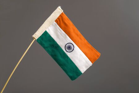 Indian tricolor flag over white background Stock Photo