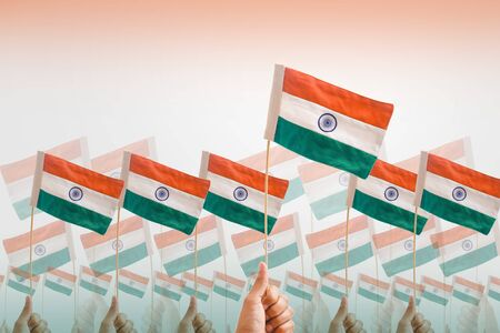 Indian tricolor flag in hand Stock Photo