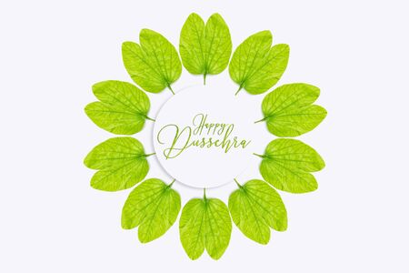 Happy Dussehra greeting card , green leaf Stock Photo