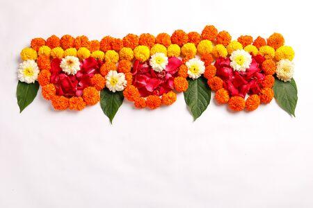 Marigold Flower rangoli Design for Diwali Festival , Indian Festival flower decoration Фото со стока