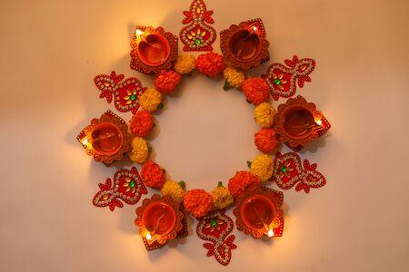 Marigold Flower rangoli Design for Diwali Festival , Indian Festival flower decoration Stock Photo
