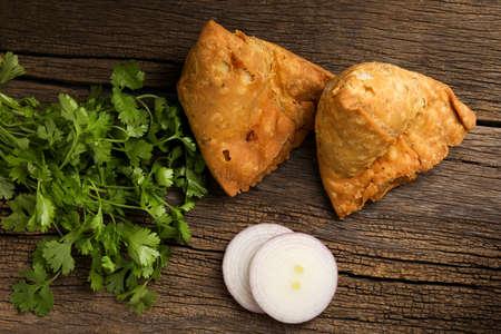 Potato samosa.spicy street food, Famous snacks in india