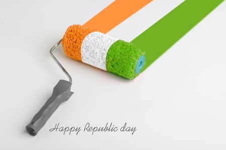 Concept for Indian Independence day and republic day ,Paint roller brush isolated on white background