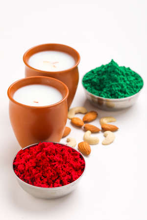 Traditional Indian beverage, Holi festival food, Thandai Sardai milk drink with nuts, Stock Photo