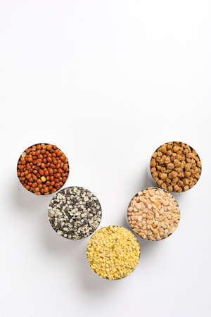 Indian Beans and Pulses in bowl on white background