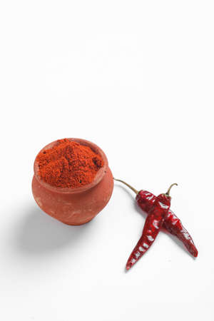 Red chilli powder with dried red chillies. in earthen bowl. Imagens