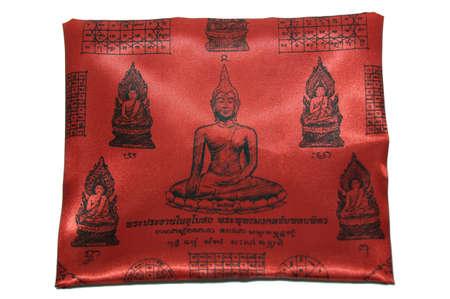 talisman: Talisman on red cloth picture buddha