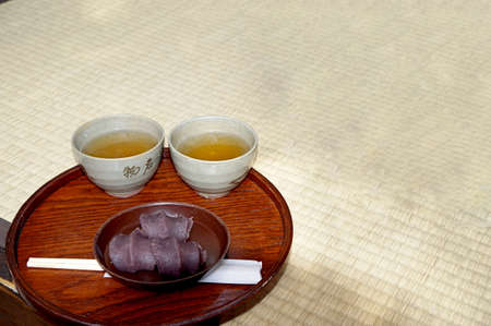 Japan tea and red bean paste mochi