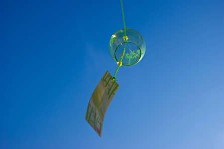 chimes: Bamboo pattern with blue sky in the summer wind chimes