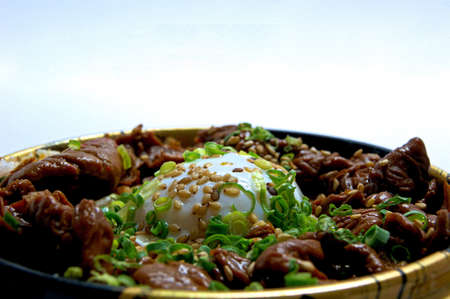 rice bowl: Hot Springs egg topped with Grilled Beef Rice Bowl