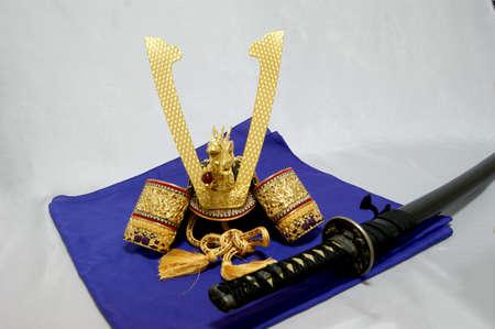 wakizashi: Helmet front and sword wakizashi Stock Photo