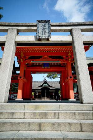 babysit: Y., gate overlap Sumiyoshi-Taisha Shrine Torii Stock Photo