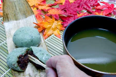 red bean: Yomogi Daifukus red bean and green tea