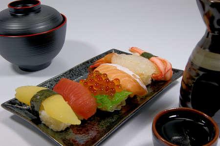 nigiri: Nigiri Sushi and sake