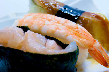grasp: Conger eel and shrimp Nigiri Sushi and shrimp wrapped in warship Stock Photo