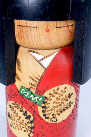wood figurine: Kokeshi dolls Stock Photo
