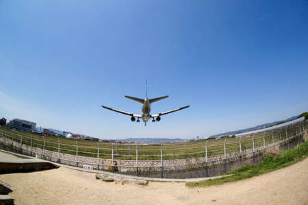 landing: Aircraft landing Stock Photo