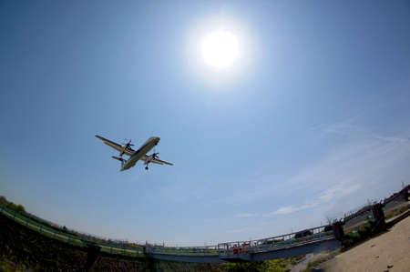 aircraft landing: Aircraft landing Stock Photo