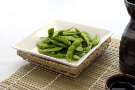 Edamame is  green soybeans warmed in hot water Stock Photo