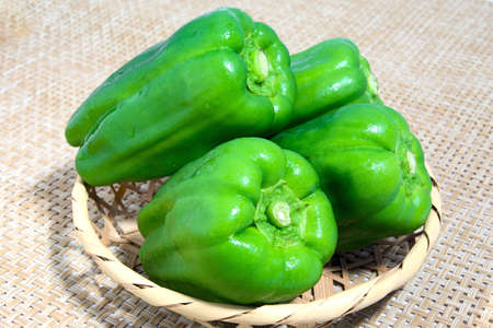 Green pepper went into a bamboo basket