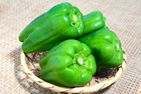 green pepper: Green pepper went into a bamboo basket