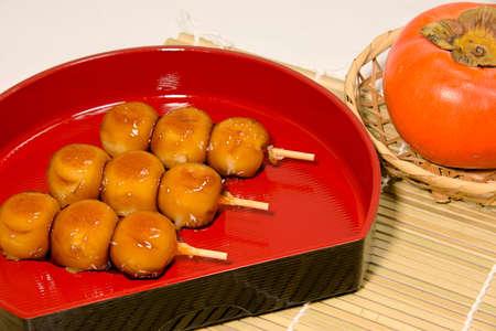 Sweet Mitarashi Skewers dumpling Stock Photo