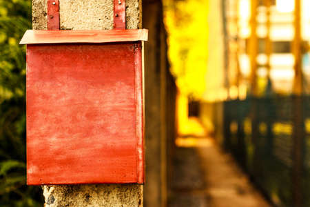 red post box: A red post box vintage background