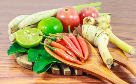 spice: Ingredients Tom Yum Soup or River Prawn Spicy Sour Soup (Tom Yum Goong) on  wooden background, Healthy eating and diet food concept. Stock Photo