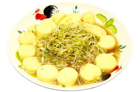 bean sprouts: Thai traditional cuisine style Fried bean sprouts,egg tofu isolated on white background, asian eating food, Thai food, close up