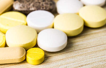 Drug prescription for treatment medication. Pharmaceutical medicament, cure in container for health. Pharmacy theme, capsule pills with medicine antibiotic in packages.closeup,Medicine or capsules.