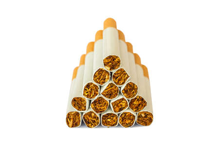 Cigarettes Close-up of Tobacco Cigarettes Background or texture