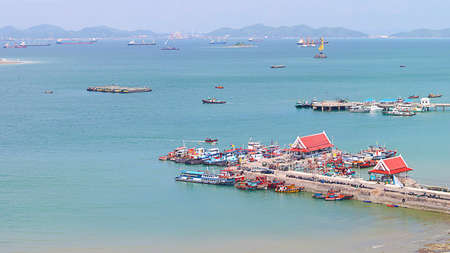 Panoramic view of Chumphon estuary Fishing Village with cloudy sky ,Thailand.