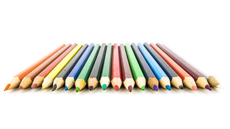 Colour pencils isolated on white background. Close up. Beautiful color pencils.Color pencils for drawing. Stock Photo - 129700253