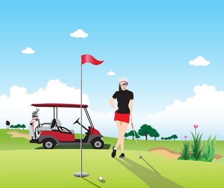 Golf course background view in clear sky atmosphere and beautifull golfer