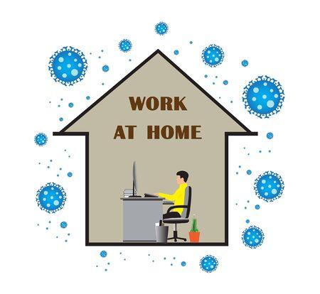 Work at home makes it safe from Covif-19. Illusztráció