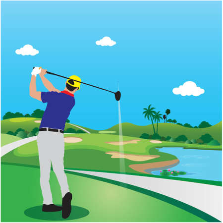 The picture shows golfing to the destination. vector illustration