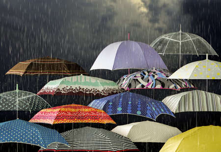 Umbrellas under raindrops