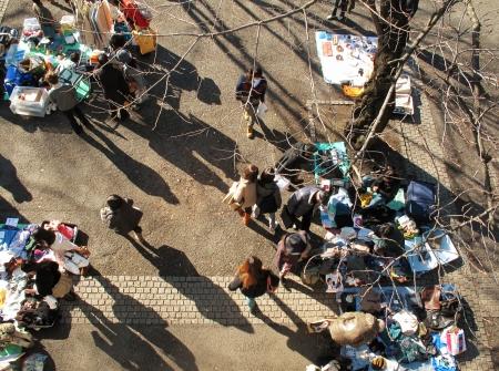 HARAJUKU,TOKYO - DECEMBER 16, 2012 - Shoppers come to flea market at Yoyogi Park in Harajuku. It is the monthly flea market in the city of fashion Harajuku. Stock Photo - 17261906