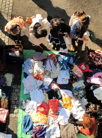 HARAJUKU,TOKYO - DECEMBER 16, 2012 - Shoppers come to flea market at Yoyogi Park in Harajuku. It is the monthly flea market in the city of fashion Harajuku.