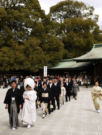 HARAJUKU,TOKYO - MARCH 25, 2012: Celebration of a typical wedding ceremony in Meiji Jingu Shrine Harajuku Tokyo, Japan. Stock Photo - 17262316