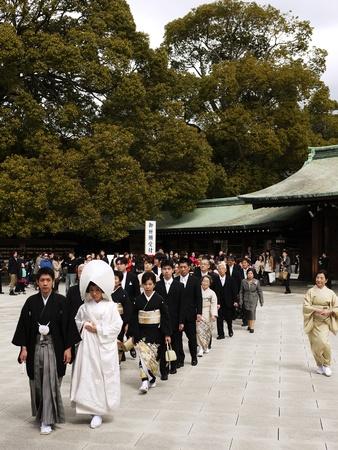 HARAJUKU,TOKYO - MARCH 25, 2012: Celebration of a typical wedding ceremony in Meiji Jingu Shrine Harajuku Tokyo, Japan. Stock Photo - 17262316