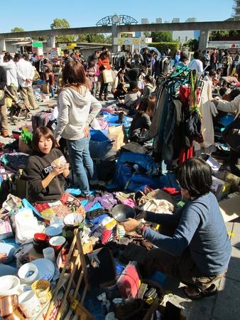 YOKOHAMA,JAPAN - NOVEMBER 4, 2012: Shoppers come to flea market at Nissan Stadium. It is the monthly flea market in Shin-Yokohama. Stock Photo - 17262303